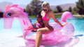 Khloe Kardashian in the Pool with Her Daughter True