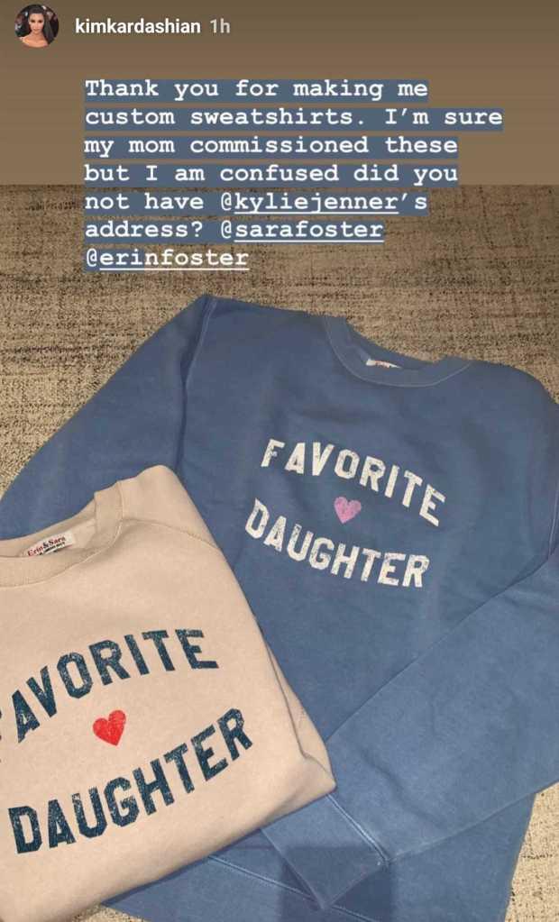 Kim Kardashian favorite daughter sweatshirt instagram story