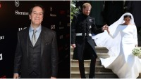 side by side photo of aaron korsh and prince harry and meghan markle at royal wedding