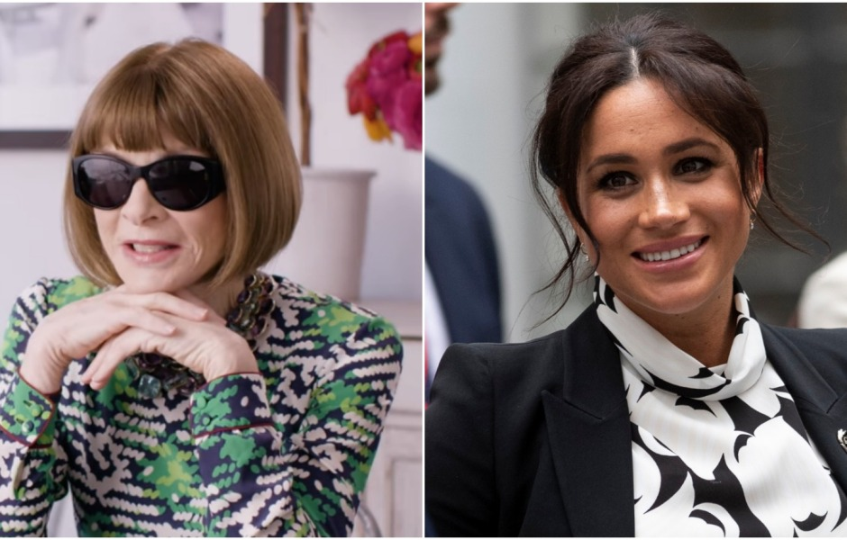 Side by side photo of Anna Wintour and Meghan Markle