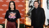 Jessie J wearing hug me shirt and Channing Tatum at magic mike premiere in black suit