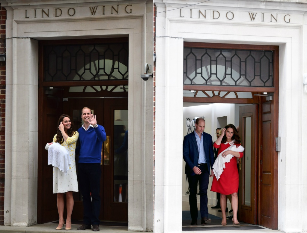 Kate Middleton and Prince William after birth of princess charlotte at Lindo Wing kate middlton and prince william after prince louis birth at the lindo wing at st marys