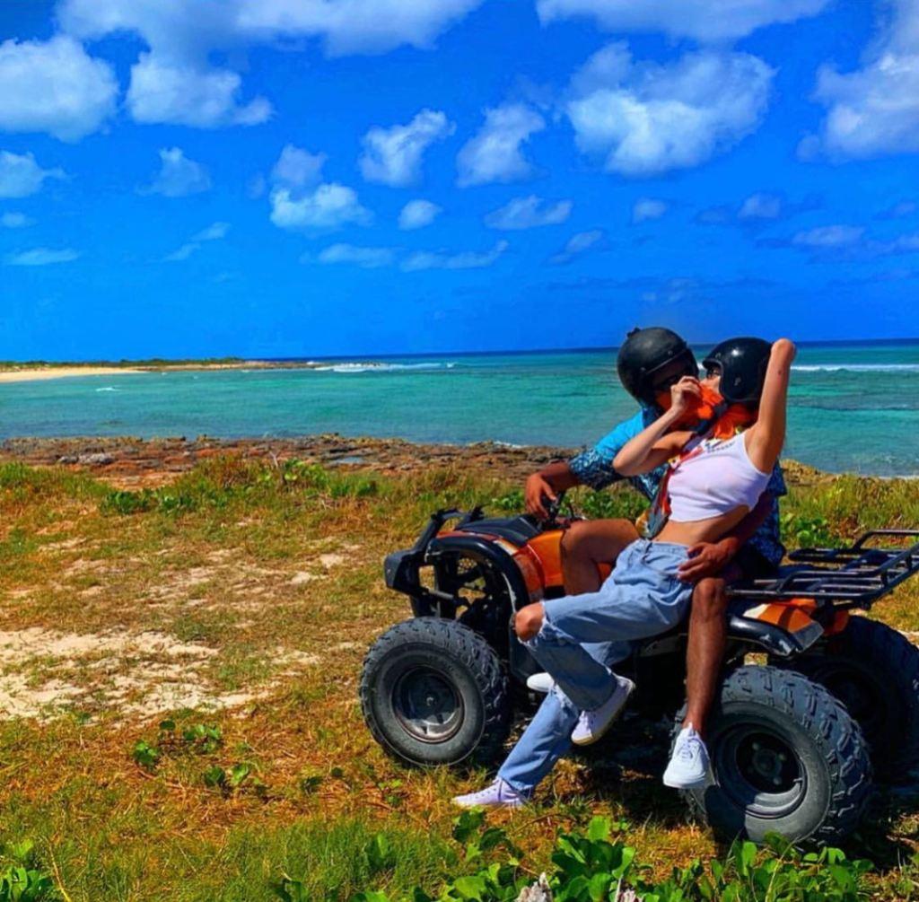 Bella Hadid and The Weeknd on an ATV
