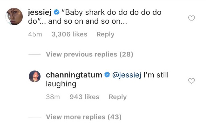 Jessie J comments baby shark on channing tatums instagram
