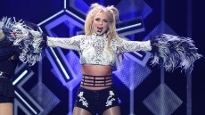 Britney Spears Wearing a Gray Top on Stage