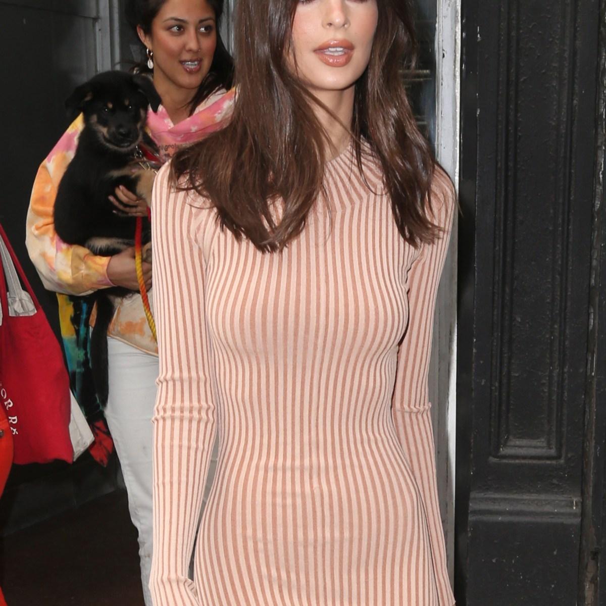 Nearly Nude! Emily Ratajkowski Struts Her Stuff Around NYC in a Slinky Dress