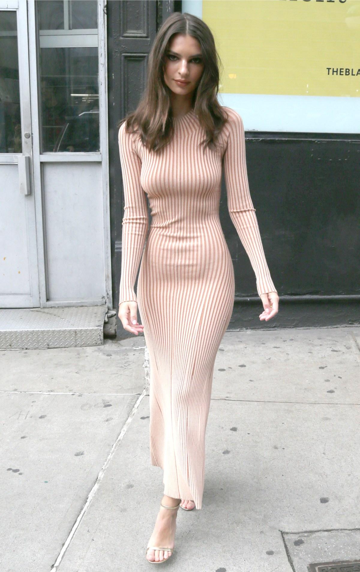 Emily Ratajkowskis Style: Model Wears Nude, Slinky Dress
