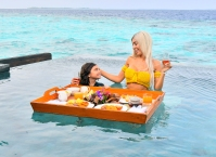 EXCLUSIVE: Farrah Abraham enjoys a 'floating breakfast' while vacationing in Maldives.