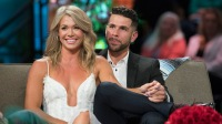 Krystal Nielson Wears a White Feathered Dress With a Deep V While Holding Hands With Husband Chris Randone During the Bachelor in Paradise Reunion Episode