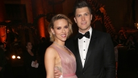 Scarlett Johansson pink dress short hair and Colin Jost black tuxedo with bowtie relationship engagement wedding