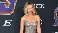 Scarlett Johansson gold strapless dress avengers premiere ex husbands marriages relationships colin jost