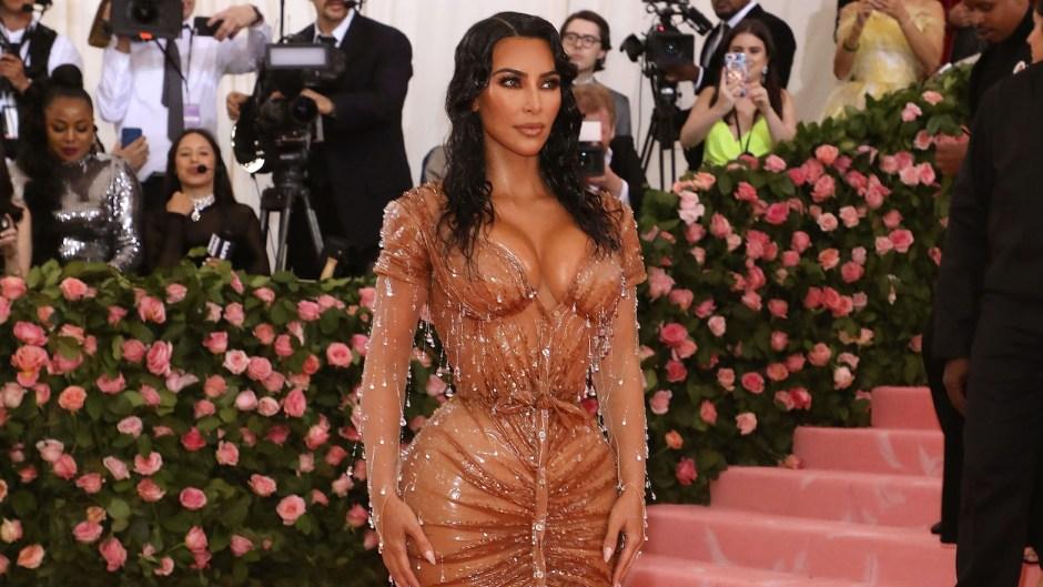 Kim kardashian met gala 2019 waist snatching dress tan wet dress diamonds tiny wiast