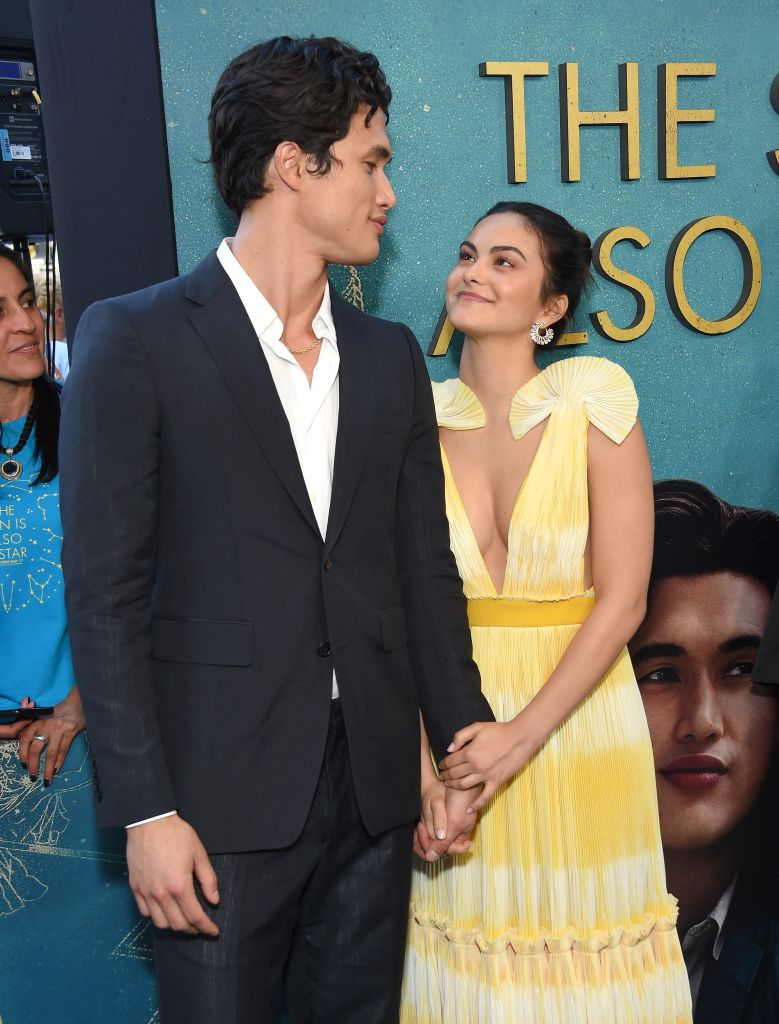Camila Mendes yellow dress Charles Melton grey suit white shirt relationship love movie premiere cute