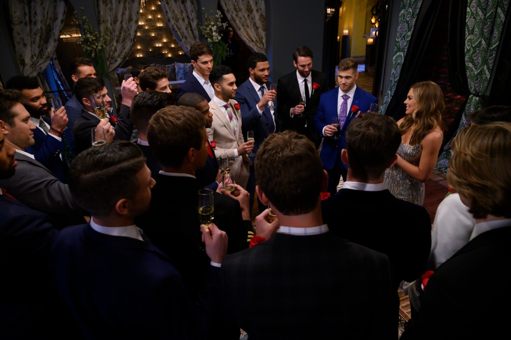The Bachelorette Hannah Brown contestants cocktail party rose ceremony
