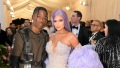 Kylie Jenner Travis Scott 2019 met gala purple hair mermaid gown military suit