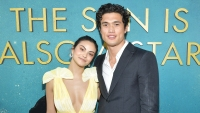 Camila Mendes yellow dress cleavage Charles Melton grey suit white shirt relationship romance the sun is also a star premiere