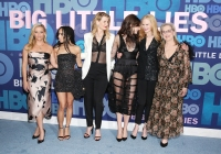 Shailene Woodley, Zoe Kravitz, Laura Dern, Reese Witherspoon, Meryl Streep and Nicole Kidman big little lies red carpet black dress cast