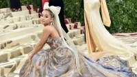 Ariana Grande 2018 met gala sweetener tour met gala gown hair bow