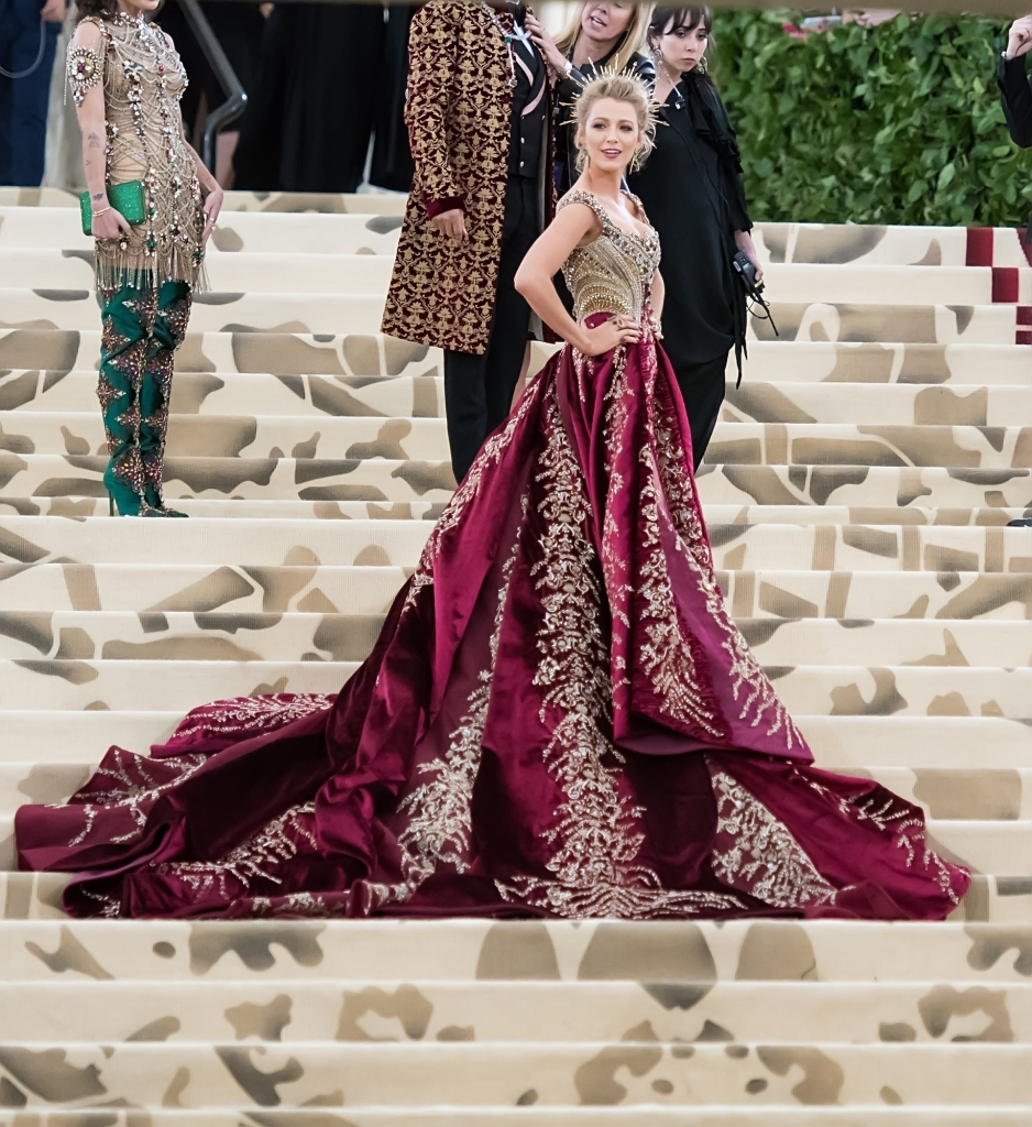 Blake Lively 2018 met gala gown burgundy and gold dress