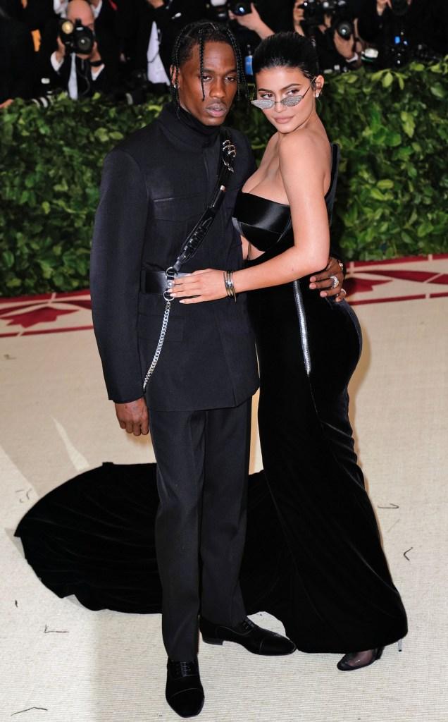 Kylie Jenner black alexander wang gown Travis Scott 2018 met gala red carpet