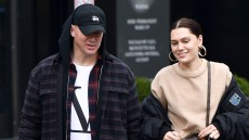 Channing Tatum black hat hoodie louis vuitton shirt Jessie J gold hoops low bun tan turtleneck walking together shopping relationship