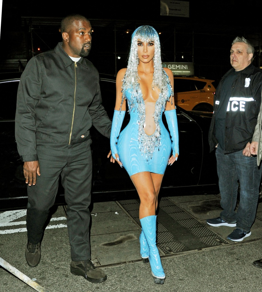 Kim Kardashian blue outfit sparkly hair kanye west black jacket pants 2019 met gala afterparty