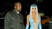 Kim Kardashian blue dress mermaid sparkly hair Kanye West black bomber jacket 2019 met gala afterparty