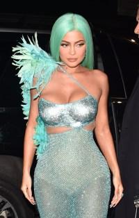 Kylie Jenner green hair wings green bodysuit 2019 met gala