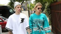 Justin Bieber and Hailey Baldwin sharks jersey sunglasses no makeup holding hands marriage relationship