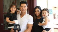 Mario Lopez Wearing a White T-Shirt with His Kids and Wife