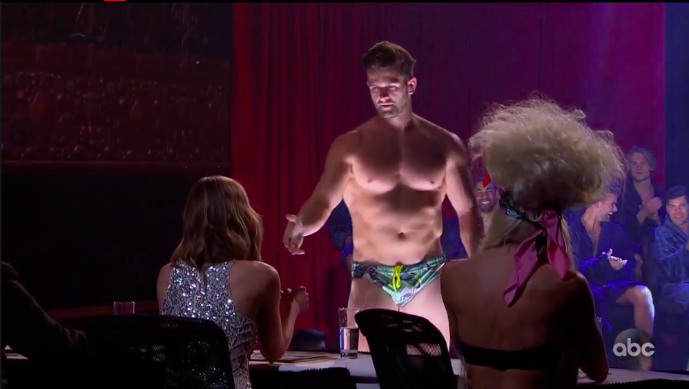 Jed Bachelorette speedo stripping mr right pageant hannah brown