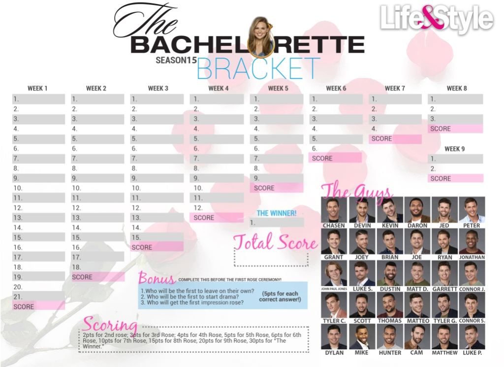 Bright image in printable bachelor bracket