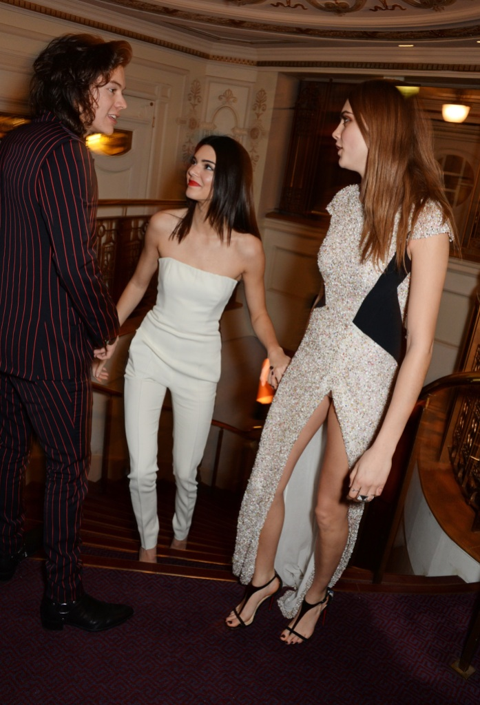 Harry Styles, Kendall Jenner and Model of the Year winner Cara Delevingne attend the British Fashion Awards
