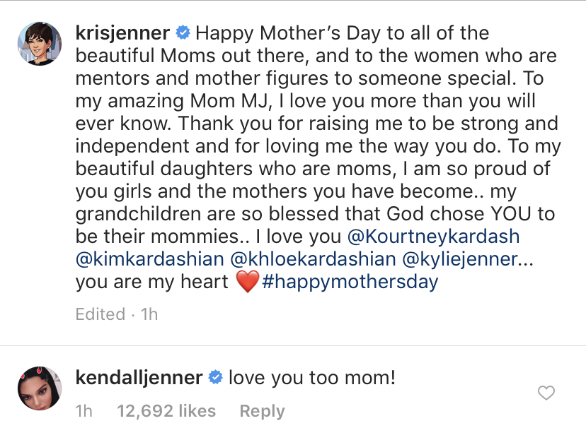 kendall-jenner-kris-jenner-mothers-day-instagram-comment