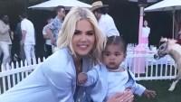 khloe kardashian true thompson birthday party nanny childcare blue outfits
