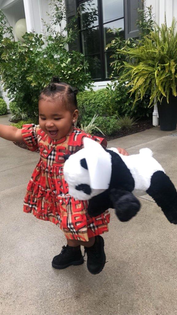 True Thompson burberry dress panda bear khloe kardashian instagram tristan thompson daughter