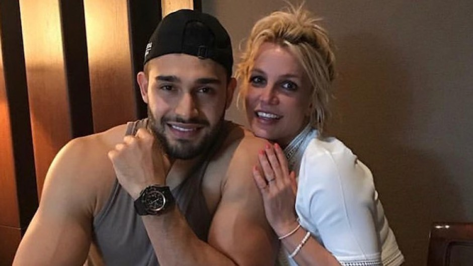 Sam Asghari Britney Spears date cuddling mother's day post ponytail sweater tank top