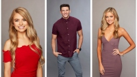 Bachelor in Pardise cast Photos Demi Burnette in Red Off the Shoulder Top Blake Horstmann in Purple Button Down Hannah Godwin in Purple Dress