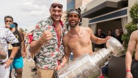Tyson Fury With St. Louis Blues In Las Vegas by the Pool