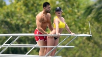 Britney Spears yellow bikini yacht Sam Asg