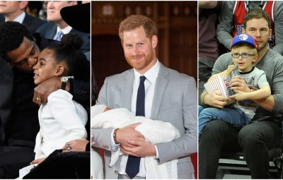 Side by side photos of Jay-Z, Prince Harry and Chris Pratt