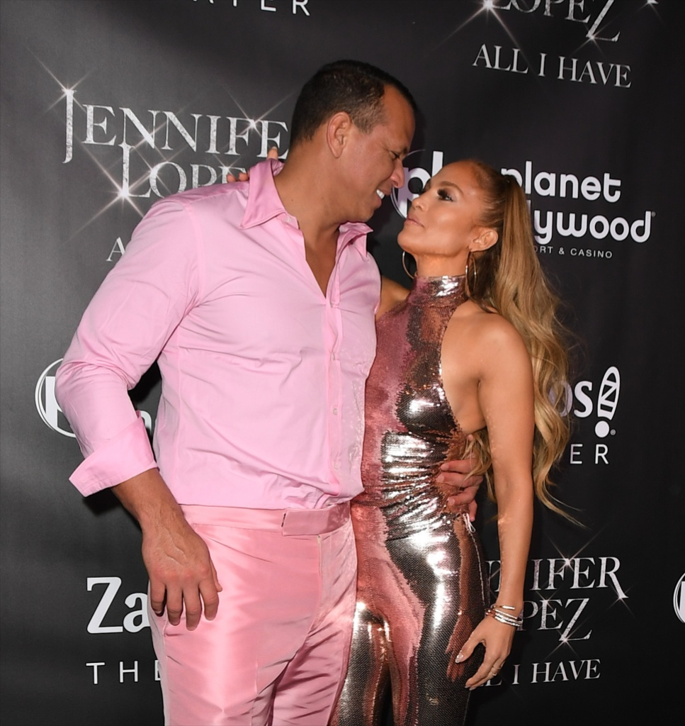 Jennifer Lopez Wears a Silver Sparkly Halter Jumpsuit and Stares Lovingly at Alex Rodriguez in a Pink Button Down Shirt With Pink Pants