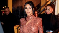 Kim Kardashian Wears Cheetah Print Latex Dress With Hair Up KKW Body Foundation