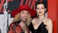 Mod Sun in Red Hat and Bella Thorne in Black Strapless Dress Pose on Red Carpet Married Wedding Ceremony