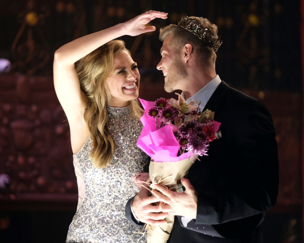 Bachelorette Hannah Brown and contestant Luke Parker During the First Group Date Mr. Right Pageant