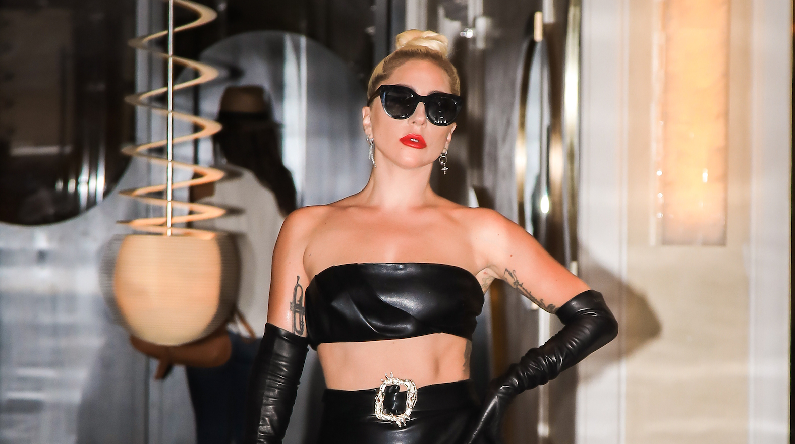 Lady Gaga Shows Abs in Leather Crop Top and Skirt in NYC