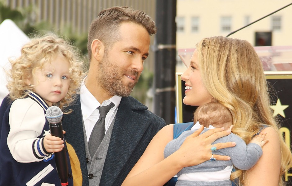 Ryan Reynolds and Blake Lively Look at Each Other While Holding Their Daughters James and Inez While Ryan Gets a Star on the Hollywood Walk of Fame