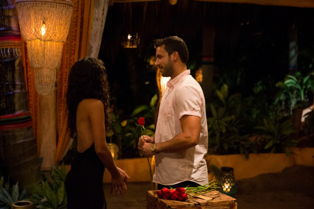 Derek Peth and Taylor Nolan Stand Together During a Bachelor in Paradise Rose Ceremony