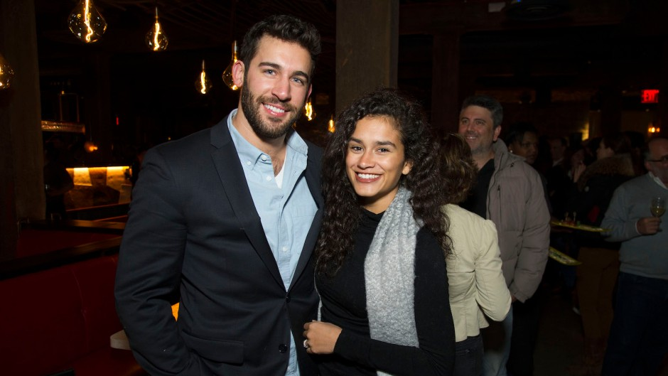 Derek Peth and Taylor Nolan Stand Smiling Together While Being Engaged