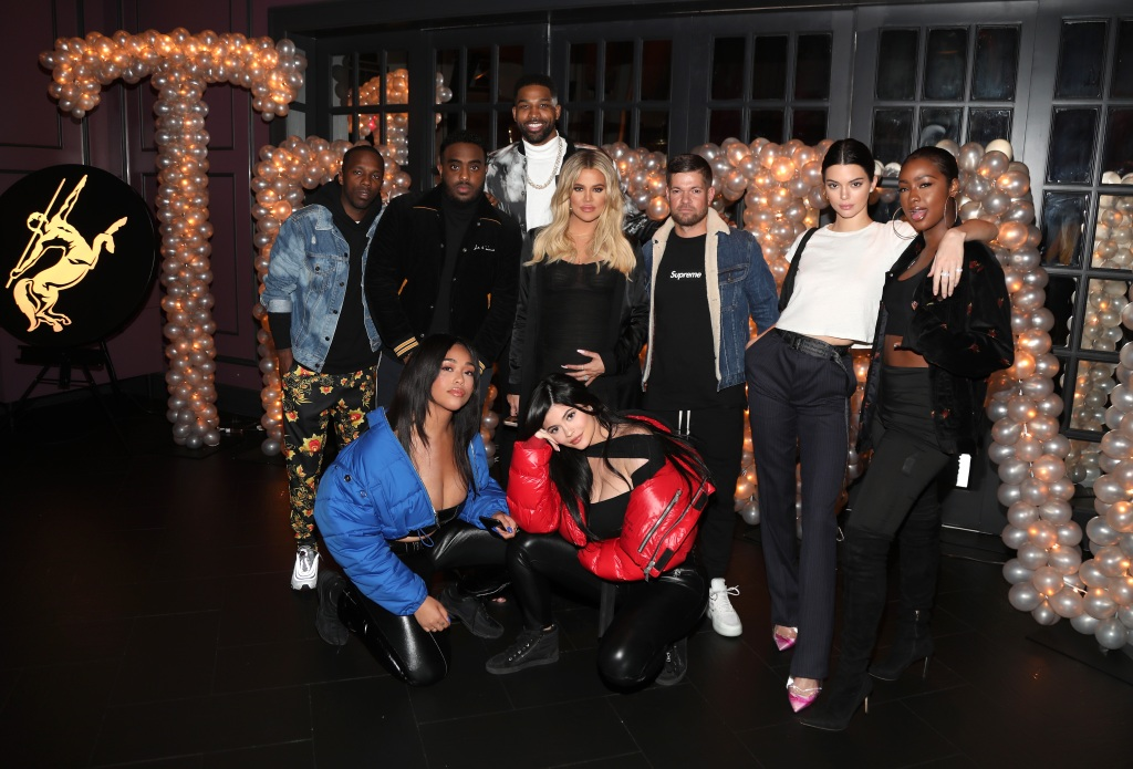 Khloe Kardashian Tristan Thompson Kylie Jenner Jordyn Woods Kendall Jenner Pose at Tristan Thompsons birthday Party